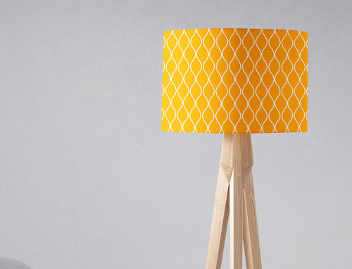 Yellow Lampshade with White Geometric Design, Ceiling or Table Lamp Shade - Shadow bright