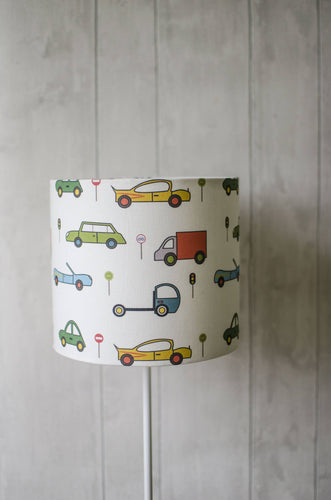 White Lampshade with Multicoloured Cars Design, Ceiling or Table Lamp Shade - Shadow bright
