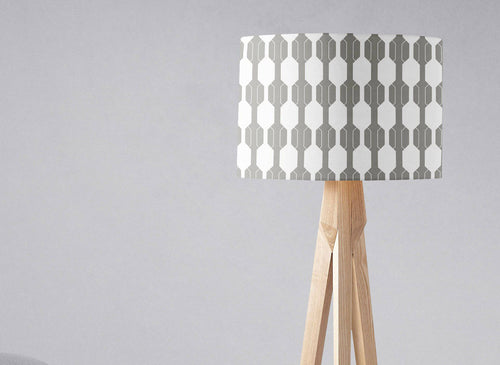 Grey with White Geometric Design Lampshade, Ceiling or Table Lamp Shade - Shadow bright
