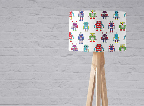 White with a Multicoloured Robot Design, Ceiling or Table Lamp Shade - Shadow bright