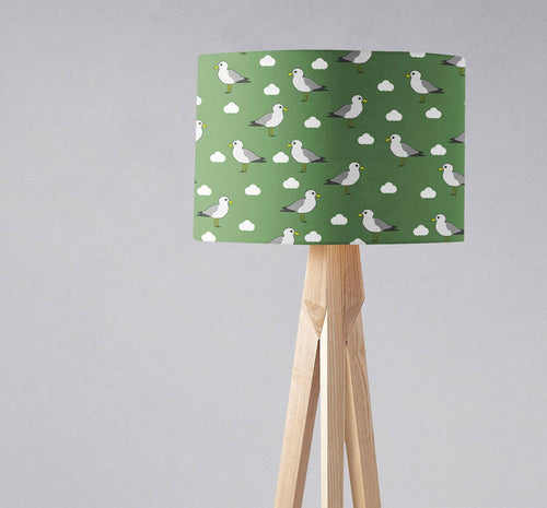 Green Lampshade with a Seagull Design, Ceiling or Table Lamp Shade - Shadow bright