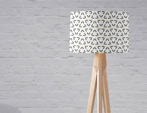 White Lampshade with a Black and Gold Triangle Design, Ceiling or Table Lamp Shade - Shadow bright