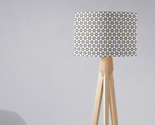 White Lampshade with a Black and Pink Geometric Design, Ceiling or Table Lamp Shade - Shadow bright