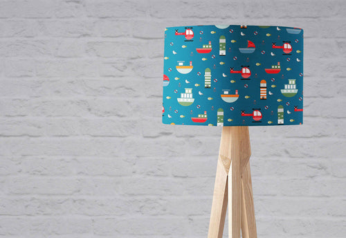 Mid Blue Seaside Theme Design Lampshade, Ceiling or Table Lamp Shade - Shadow bright
