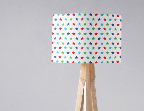 White Lampshade with a Multicoloured Stars Design, Ceiling or Table Lamp Shade - Shadow bright