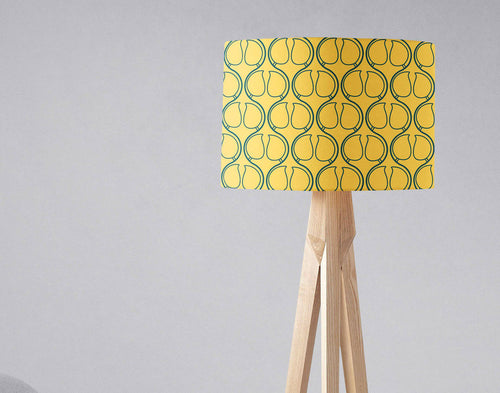 Yellow Lampshade with Blue Geometric Design, Ceiling or Table Lamp Shade - Shadow bright