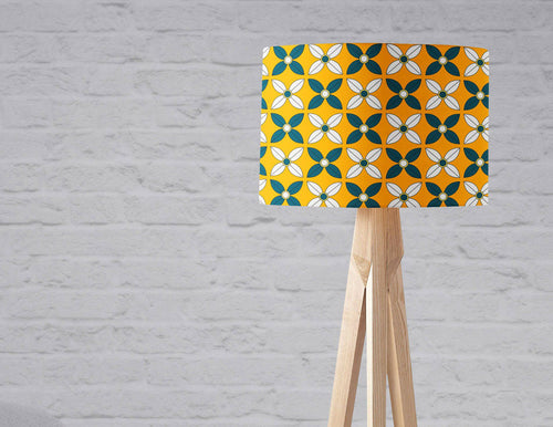 Yellow Lampshade with a  Retro Blue and White Design, Ceiling or Table Lamp Shade - Shadow bright