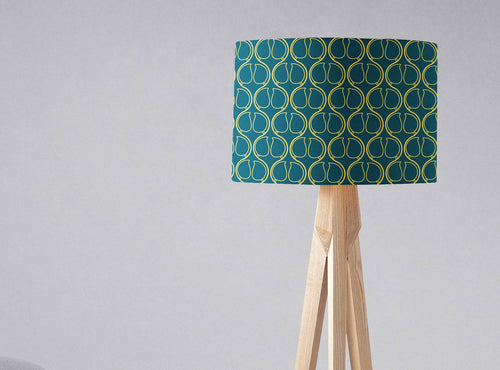 Dark Blue Lampshade with a Yellow Geometric Design, Ceiling or Table Lamp Shade - Shadow bright