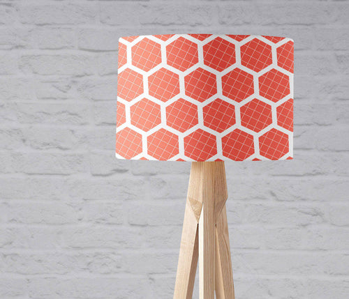 Orange Hexagon Design Lampshade, Ceiling or Table Lamp Shade - Shadow bright