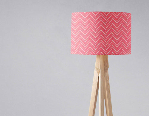 Pink Lampshade with a White Chevron Design, Ceiling or Table Lamp Shade - Shadow bright