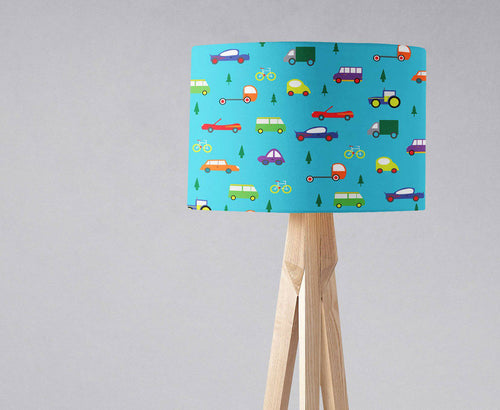 Turquoise Blue with Cars and Trees Design Lampshade, Ceiling or Table Lamp - Shadow bright