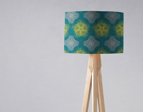 Dark Blue Lampshade with a Yellow and Grey Design, Ceiling or Table Lamp Shade - Shadow bright