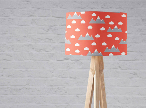 Orange Lampshade with a Clouds and Mountains Design, Ceiling  or Table Lamp Shade - Shadow bright