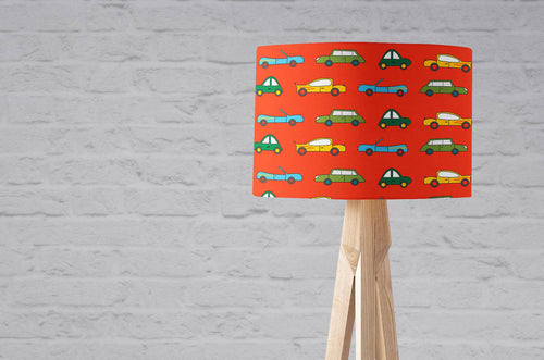 Red with Multicoloured Cars Lampshade, Ceiling or Table Lamp Shade - Shadow bright