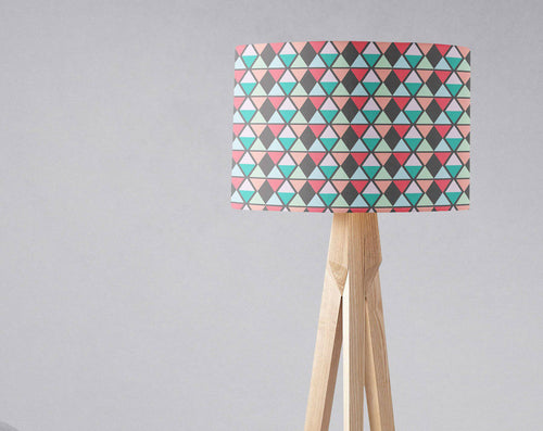 Grey Lampshade with a Pink, Peach and Blue Geometric Design, Ceiling or  Table Lamp Shade - Shadow bright