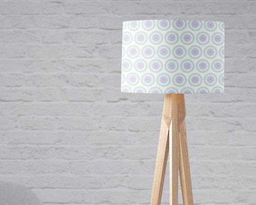White with a Purple Floral Design Lampshade, Ceiling or Table Lamp Shade - Shadow bright