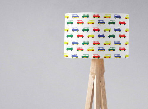 White with Multicoloured Camper Vans Design Lampshade, Ceiling or Table Lamp Shade - Shadow bright