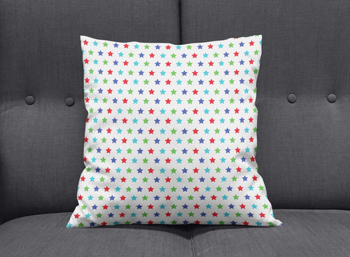 White Cushion with Multicoloured Stars Design, Throw Pillow - Shadow bright