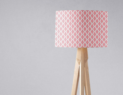 Pink Lampshade with a White Geometric Design, Ceiling or Table Light Shade - Shadow bright