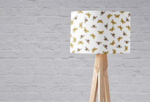 White Lampshade with a Brown Bees and Butterflies Design, Ceiling or Table Lamp - Shadow bright