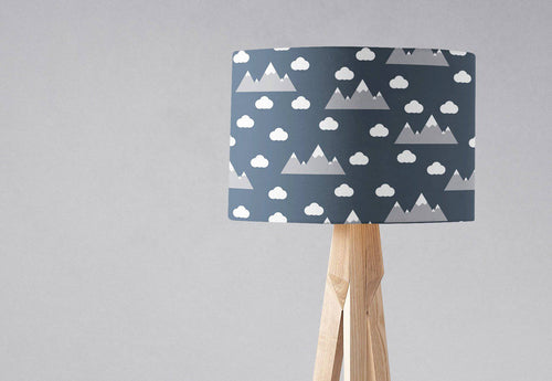 Navy Blue Lampshade with a Clouds and Mountains Design, Ceiling or Table Lamp Shade - Shadow bright