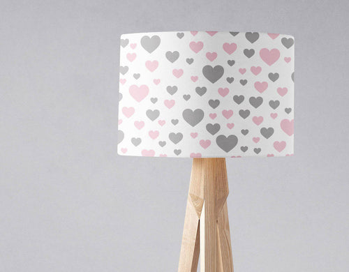 White with Grey and Pink Hearts Lampshade, Ceiling or Table Lamp Shade - Shadow bright