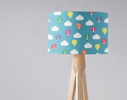 Blue Lampshade with Multicoloured Hot Air Balloons and Clouds, Ceiling or Table Lamp Shade - Shadow bright