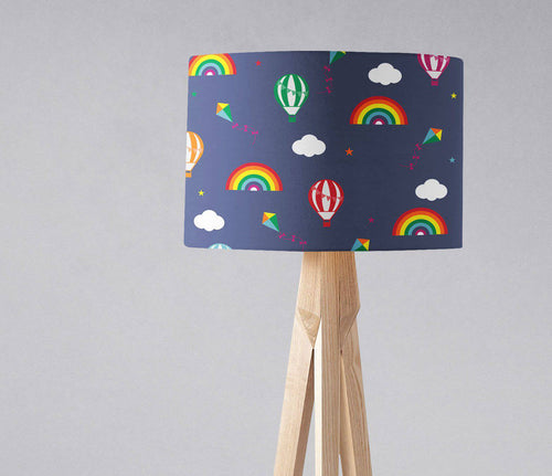 Dark Blue Lampshade with Rainbows, Hot Air Balloons and Clouds, Ceiling  or Table Lamp - Shadow bright