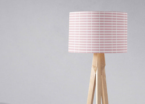Pink Lampshade with a White Lines Geometric Design, Ceiling or Table Lamp Shade - Shadow bright