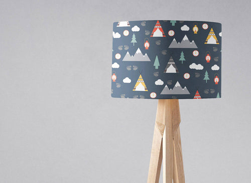 Navy Blue Camping Theme Lampshade, Ceiling or Table Lamp Shade - Shadow bright