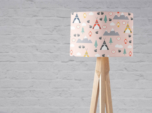 Pink Camping Theme Lampshade, Ceiling or Table Lamp Shade - Shadow bright