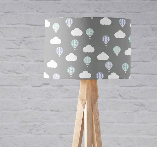 Grey with Hot Air Balloons and Clouds Lampshade, Ceiling or Table Lamp Shade - Shadow bright
