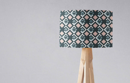 Navy Blue Lampshade with Pink Geometric Design, Ceiling or Table Lamp - Shadow bright