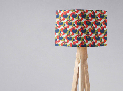 Red, White, Green and Blue Geometric Design Lampshade, Ceiling or Table Lamp Shade - Shadow bright