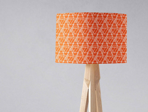 Orange and White Geometric Design Lampshade, Ceiling or Table Lamp Shade - Shadow bright