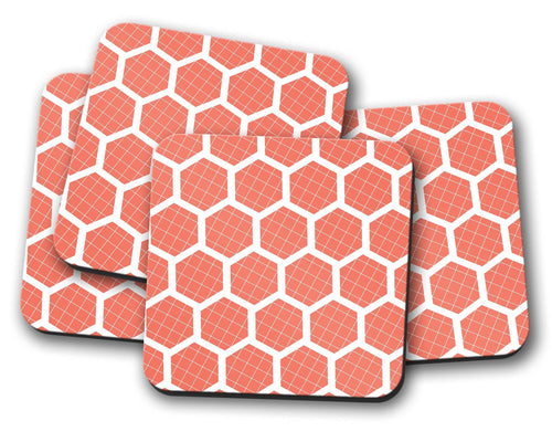 Orange Coasters with a Geometric White Hexagon Design, Table Decor Drinks Mat - Shadow bright