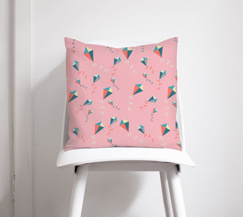 Pink Cushion with a Kites Design, Throw Pillow - Shadow bright