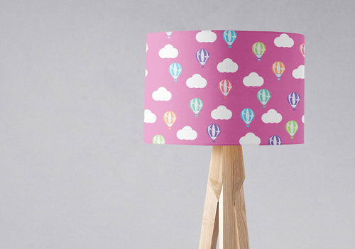 Pink Lampshade with Multicoloured Hot Air Balloons and Clouds, Ceiling or Table Lamp Shade - Shadow bright