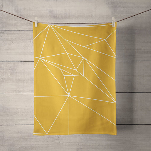 Yellow Tea Towel with a White Geometric Line Design, Dish Towel, Kitchen Towel - Shadow bright