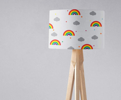 White with a Rainbow and Clouds Design, Ceiling or Table Lamp Shade - Shadow bright