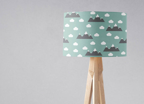 Green Lampshade with a Clouds and Mountains Design, Ceiling or Table Lamp Shade - Shadow bright