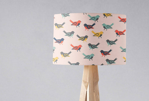 Pink Lampshade with a Multicoloured Birds Design, Ceiling or Table Lamp Shade - Shadow bright