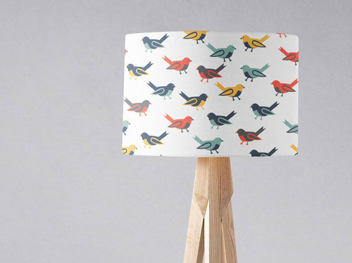 White with Multicoloured Birds Lampshade, Ceiling or Table Lamp Shade - Shadow bright
