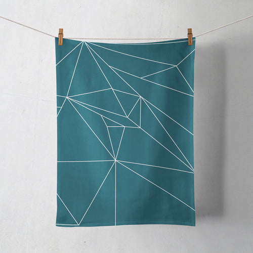 Teal Tea Towel with a White Line Geometric Design, Dish Towel, Kitchen Towel - Shadow bright