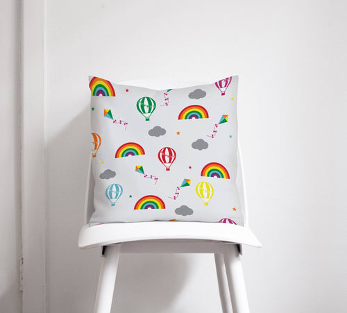 Rainbows and Multicoloured Hot Air Balloons Design Cushion, Throw Pillow - Shadow bright