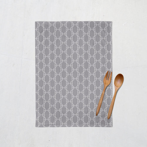 Grey Tea Towel with a White Geometric Design, Dish Towel, Kitchen Towel - Shadow bright