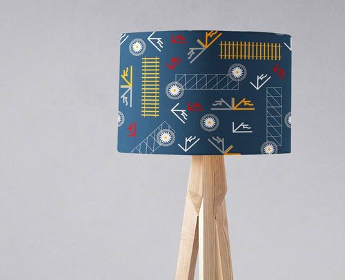 Blue Lampshade with a Railways Inspired Theme, Ceiling or Table Lamp Shade - Shadow bright