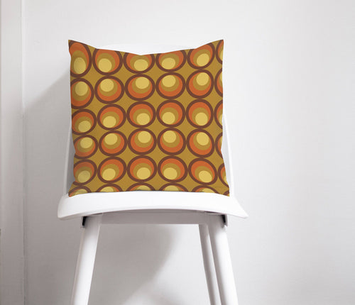Mustard, Brown and Orange Cushion with a 70's Retro Design, Throw Pillow - Shadow bright