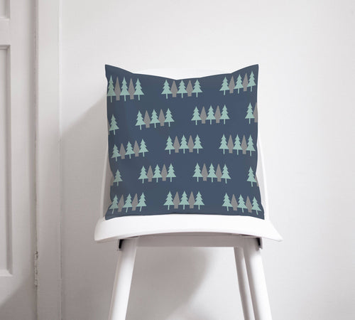 Navy Blue Cushion with a Scandi Forest Design, Throw Pillow - Shadow bright