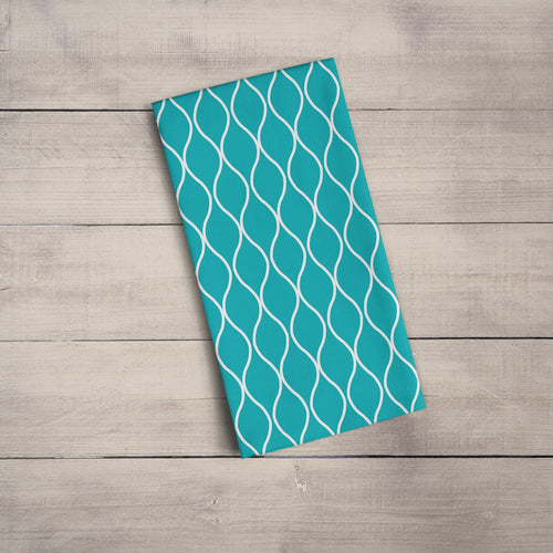 Turquoise Tea Towel with a White Geometric Design, Dish Towel, Kitchen Towel - Shadow bright